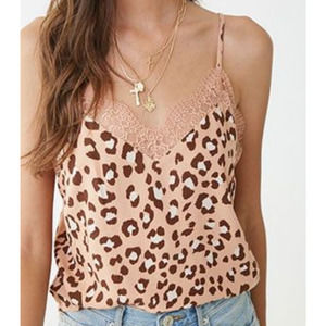 Forever 21 Animal Print Lace Trim Camisole Large
